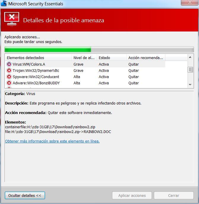 Microsoft Security Essentials: Que hacer si encuentro amenazas
