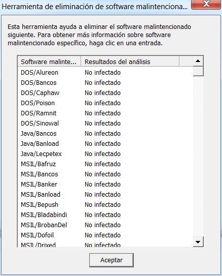 Herramienta de eliminación de software malintencionado: resultado del análisis