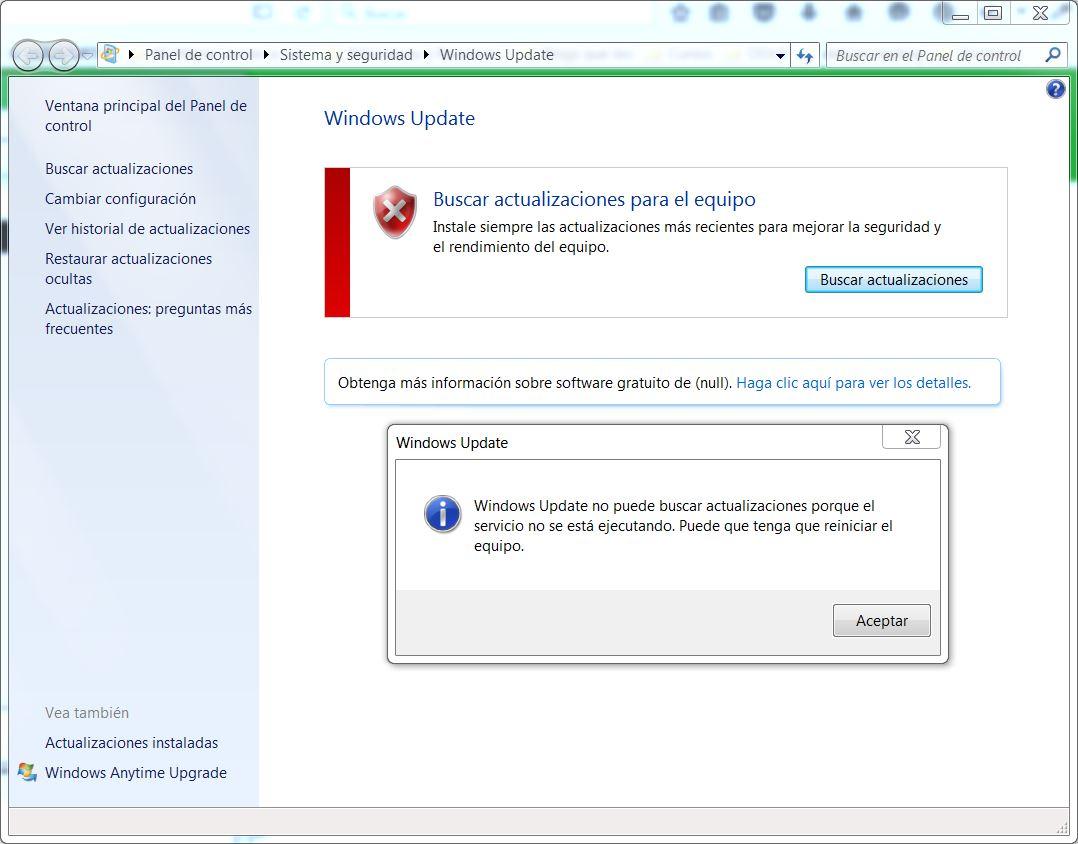 windows update no puede buscar actualizaciones porque el servicio no se está ejecutando