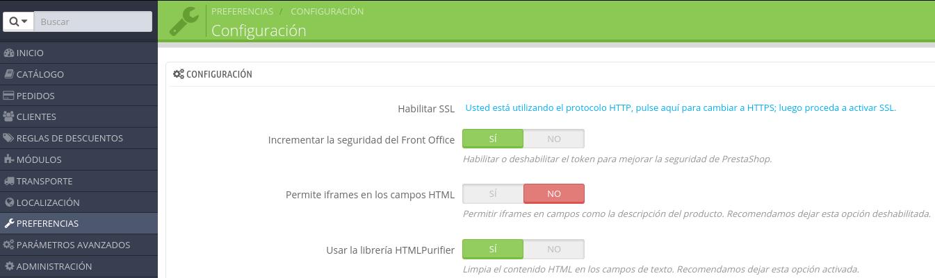 """Deshabilitar el """"purificador"""" de HTML en Prestashop"""
