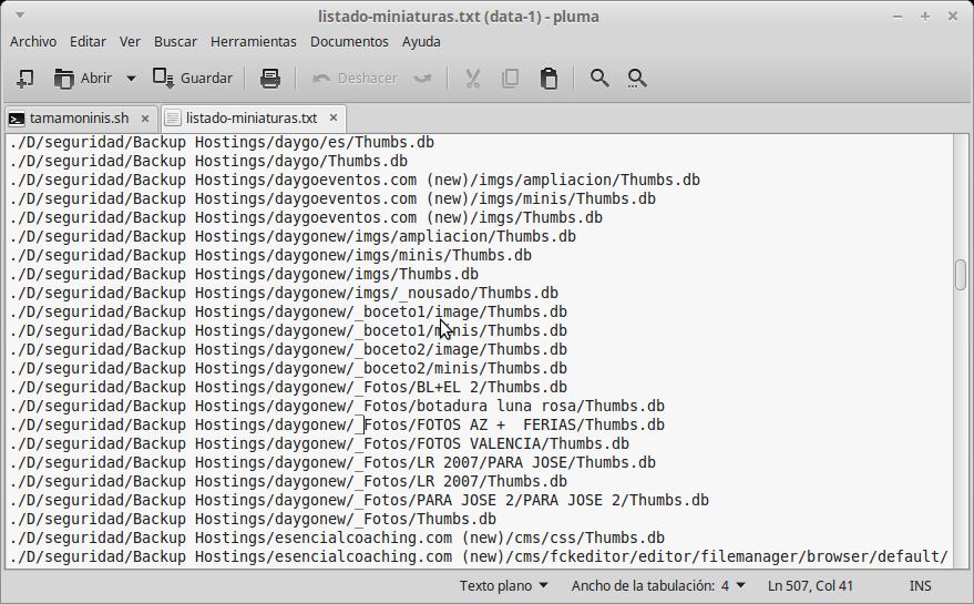abrid el fichero listado-miniaturas.txt con un editor de texto y repasad antes de borrar